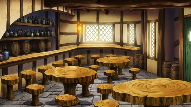 en el interior el piso es de piedra con mosaicos cuadrados sobre este en el centro tres mesas redondas extradas de troncos de madera cortados de forma